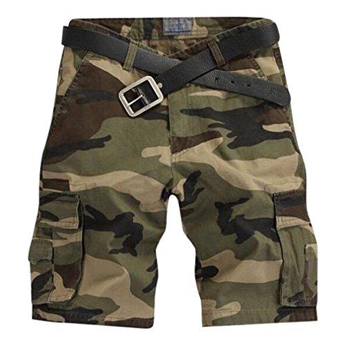 MingTai Shorts Cargo Pantaloni tasche laterali UomoPantaloni Mimetici, Verde Scuro Camo, CN Taglia 38(Vita 96-98 CM)