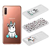 [3 Pack] Funda Samsung Galaxy A7 2018, Weideworld 3D Patrón Flexible Ultra Slim TPU Silicona Back Carcasa Funda para Samsung Galaxy A7 2018, Unicornio