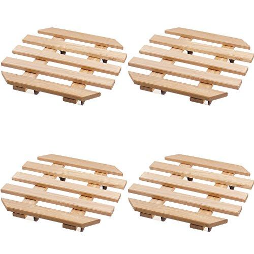 4 x Plante Roller en bois 35 x 35 cm Octaèdre Hêtre avec 4 roulettes Chromé Roll Soucoupe Set économique