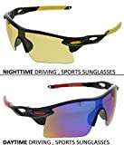 Vast Combo Of All Day And Night Vision Biking  Driving And Sports Unisex Sunglasses (YELLOW_BLKBLUEMIRROR)