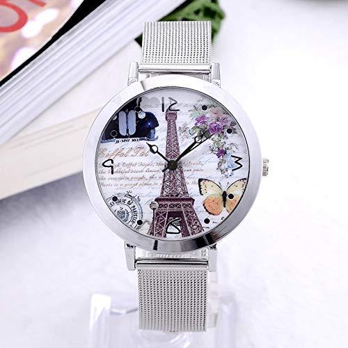 WZFCSAE Frauen kleiden Uhr-Blumen-Quarz-Armbanduhr Edelstahl-Schmetterlings-Uhren Elegante Mujer Uhren, Brown (Guess Uhren Frauen Schmetterling)