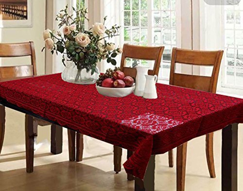 Kuber Industries™ Dining Table Cover Maroon Cloth Net For 6 Seater 60*90 Inches (Self Design)