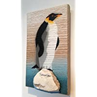 Penguin - Picture Painting on Wood - Stencil fatti a mano - 8 x 12cm - Vincitore di Shed of Year. Made in Gran Bretagna