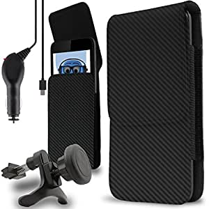 iTALKonline BLU Dash 4.5 2016 Carbon Fibre / Fiber Black PU Leather Vertical Side Pouch Case Cover Holster with Belt Loop Clip and 1000 mAh Coiled In Car Charger LED Indicator with Heavy Duty Car Holder
