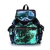 Jiamins Sac à dos brillant holographique pour femme, Cartable fille Sac à bandoulière mignon Sac à main de voyage Backpack