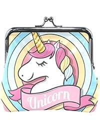 COOSUN Feliz de piel de la cara de la moneda del unicornio embrague monedero  de cierre cc565002adbd7