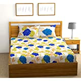 Fab Theory Western Roses 104 TC 100% Cotton Double Bedsheet with 2 Pillow Covers, Multicolor Blue