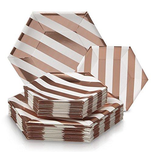 (EINWEGGESCHIRR PARTY-SET (36 Teile) | 18 Dinner-Teller | 18 Salat/Dessert Teller | robustes Pappgeschirr | eleganter China-Look|Hexagon-Design (Stripe Kollektion-Weiß/Rosa))