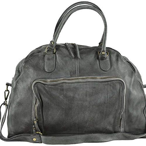 BZNA Bag Camilla dunkelgrau dark grey Italy Designer Weekender Damen Handtasche Schultertasche Tasche Schafsleder Shopper Neu
