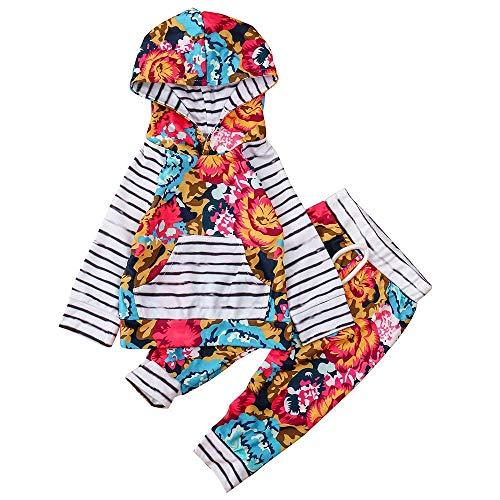 Fuxitoggo Newborn Toddler Baby Girls Clothes, 2PC Cute Stripe Floral Impreso manga...