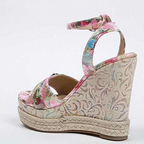 Ideal-Shoes Sandali compensate con fascia effetto glitterato Daurine, motivo: floreale Rosso (rosso)