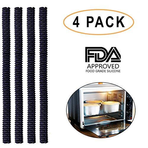 (Silikon-Ofenrost (4er-Set) - Zertifiziertes BPA-frei, FDA-zertifiziert, hitzebeständiges Silikon - schützt vor Verbrennungen und Narben - Schwarz)