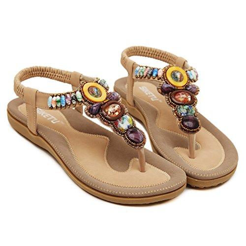 Bohemian-Stil bequeme elastische Sommer flache Sandalen für Frauen wulstigen Aprikose