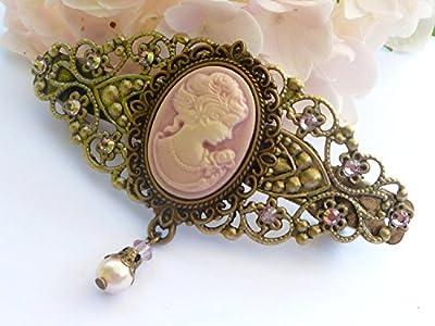 Pince à cheveux romantique avec camée en bronze rose