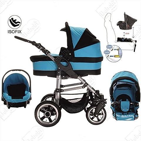 bebebi | modèle London | Isofix Base & siège auto–Ensemble Poussette 3en 1–Pneus en caoutchouc rigide