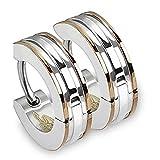 Pair of Two-Tone Small Huggie Hoop Earrings - Stainless Steel
