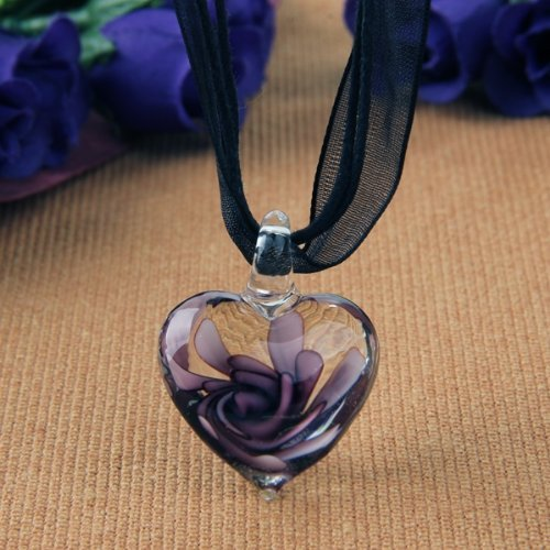 SODIAL(R) Collar Colgante Cristal de Murano