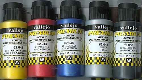 Vallejo 62103. Set pintura acrilica Alta Adherencia. 5 colores Metalizados de 60ml...
