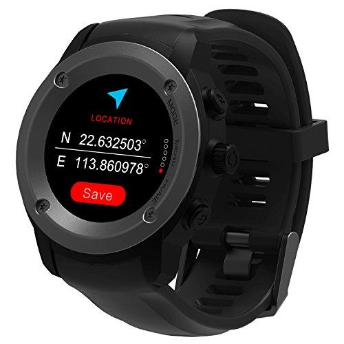Hombre Mujer Reloj con GPS de Deportivo con Pulsómetro y Notificaciones Inteligentes,Weather Specifications,Altímetro, Inteligente Reloj GPS para Correr Compatible iOS 8.0 y android 4,4 y Superiores