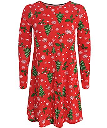 8256430edb62 Kids Girls Holly tree Santa Penguin Christmas Swing Dress Age 7-13 (Age 7