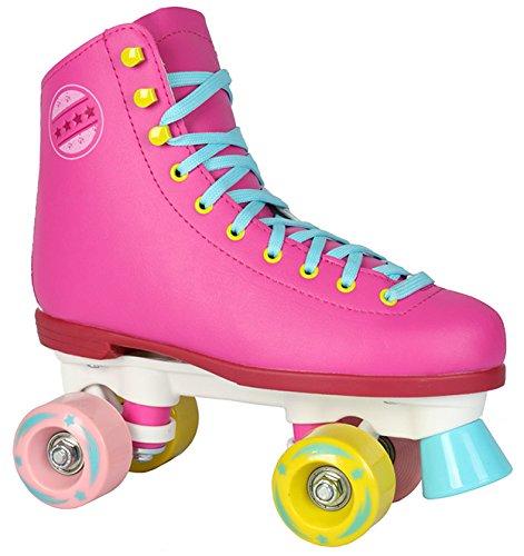 Kinder Rollschuhe NEU 34 35 36 37 38 39 40 Pink weiß schwarz Discoroller Disco Damen (Pink, 36) -