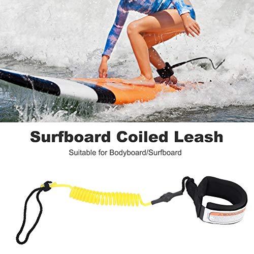 SolUptanisu Surfboard-Leine Spring Leine Bein Fußseil Surfen Leine 5mm für Stand up Paddle Board und Surfboard(Gelb)