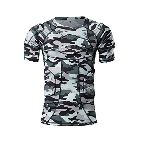 TUOYR Body Safe Guard Gepolsterte Compression Sport Short Sleeve Schutz T-Shirt Schulter Rib Brustschutz Camo Anzug für Fußball Basketball Paintball Rugby Parkour Extreme, Padded Shirt - Fußball-rugby-shirt