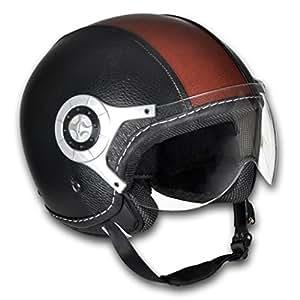 Casque moto en cuir noir et brun Taille M