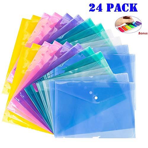 Dokumententasche A4, iFergoo 24 Stück wasserfest, transparent Projekt-Umschläge in 6 Farben, US Letter/A4 Größe. mit 140 Notizblock, als Geschenk