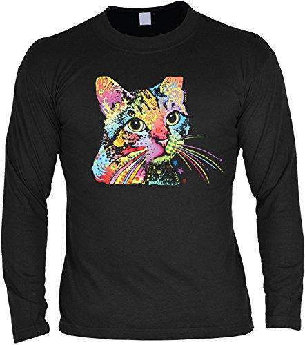 Herren Langarmshirt mit Motiv: Catillac New - Katzenmotiv - Geschenk - Pullover, Pulli - Farbe: schwarz Schwarz