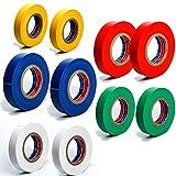 takestop ROTOLO NASTRO PVC ISOLANTE ISOLATO COLORATO 0.13mmx17mmx20yds ALTA ADESIVITÀ PER ELETTRICISTA colore casuale