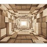 murando - Fototapete Tunnel 250x175 cm - Vlies Tapete - Moderne Wanddeko - Design Tapete - Wandtapete - Wand Dekoration - 3D Holz Beige a-A-0125-a-b