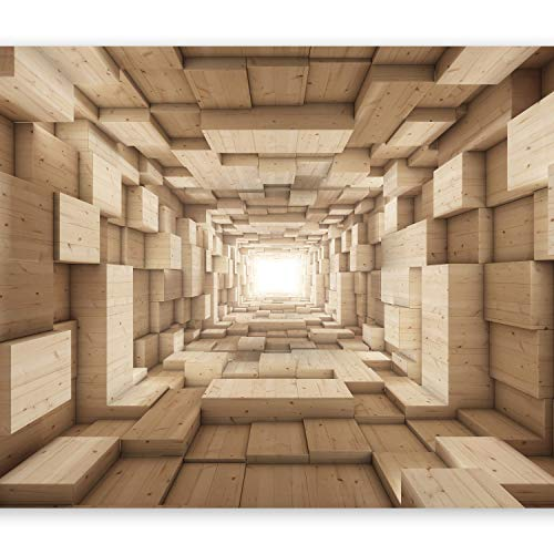 murando - Fototapete selbstklebend 3D Effekt 49x35 cm decor Tapeten Wandtapete klebend Klebefolie Dekofolie Tapetenfolie - Tunnel Holz Beige a-A-0125-a-b (49x Toner)