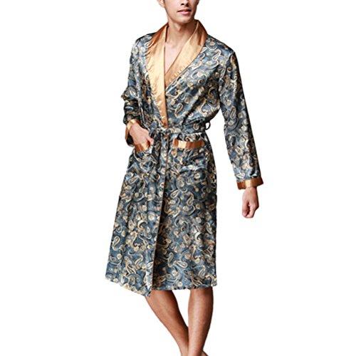 Zhhlaixing Fashion Men's Silk Lightweight Dressing Gown Loungewear Nightwear YT16QWP020 Navy blue