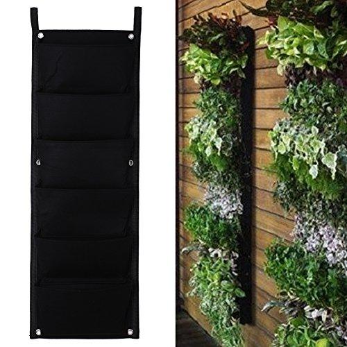 La Cabina 6 Poches Fleurs de Plantation Sac de Mur en Feutre Jardinage Pocket Sac Suspendu de Plantes Résistant à la Corrosion (6 Poches)