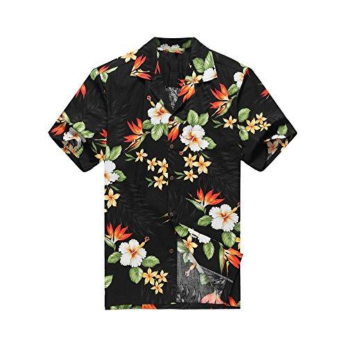 3da122a50b0 c Hecho en Hawai de los hombres Camisa hawaiana Camisa de la hawaiana M  Aves florales tropicales del paraíso en negro