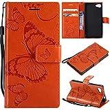 Hozor Sony Xperia Z5 Compact Handyhülle, Retro Großer Schmetterling Muster PU Kunstleder Ledercase Brieftasche Kartenfächer Schutzhülle mit Standfunktion Magnetverschluss Flip Cover Tasche, Orange