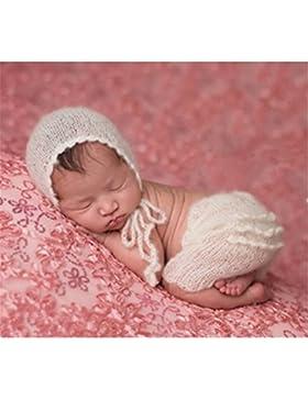 Handmade Bambino Neonato Bambina Bambino Crochet lavorato a maglia Cappello pantaloni fotografia props Outfit...
