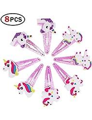 Mädchen mit Einhorn 4Paar Haarklammer Haarspangen Haar mit Strasssteinen, Einhorn,-Clips Haar Geschenk für die Kinder, Party, cumpleaño