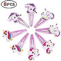 Upper 8Pcs Pinza de Pelo para Niñas Chicas Clips Pelo Unicornio Horquillas Barrettes