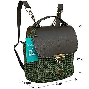 Khaki lederrucksack mit Kette.Damentasche mit rucksackfunktion. EXKLUSIVER Designer gehäkelte Rucksack.Ungewöhnlichen…