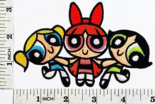 Powerpuff Girl Zubehör Kostüm - LipaLipaNa Die Powerpuff Girls Patch Cartoon Kid Patch Symbol Jacke T-Shirt Patch Nähen Eisen auf Gesticktes Zeichen Abzeichen Kostüm Applique Souvenir Zubehör