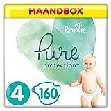 Pampers Pure Protection Maat 4 (9-14kg), 160 Luiers, Gemaakt Van Materialen Met Hoogwaardig Katoen En Plantaardige Vezels, Maandbox
