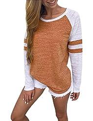 Hiroo Mujeres Niñas Blusa de empalme de manga larga Camisa Super Confort Camiseta de la raya de la impresión raya Elegantes tops de trabajo Sudaderas con capucha de túnica ligera (naranja, S)
