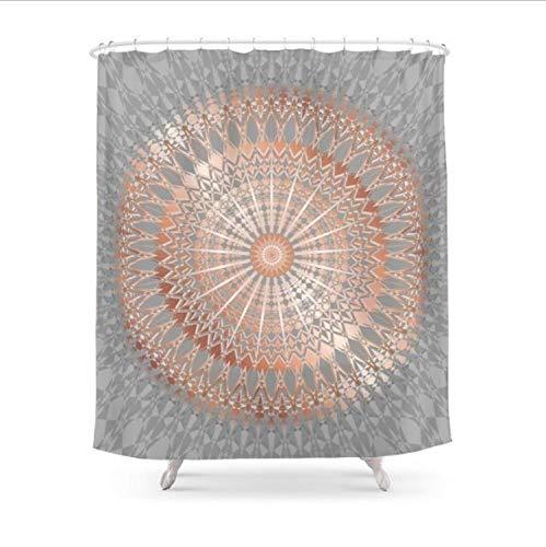Rosa Oro Grigio Mandala Tenda Doccia Poliestere Tessuto Bagno Decorazione della Casa Impermeabile Stampa Tende da Doccia con Ganci (W) 150x(H) 180cm