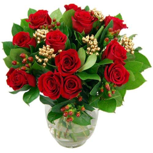 Clare Florist Christmas Roses Fresh Festive Flower Bouquet
