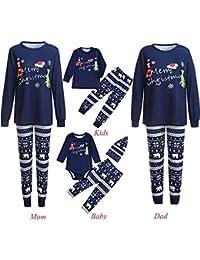 Jaysis 3PCS Weihnachten Familie Outfits Set, Mama & Ich & Daddy Cartoon Brief Strampler + Deer Pants + Hut