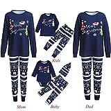 Weihnachten Schlafanzug Familien Outfit Mutter Vater Kind Baby Pajama Casual Langarm Nachtwäsche Print Sleepwear Casual Rundkragen Langarmshirt Oberteile Top Kariert Hose Set Marine von Innerternet