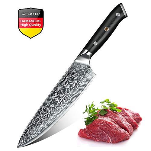 Cuchillo de cocina de 20 cm, Cuchillo Pro Chef de acero de Damasco, Ho