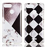 YKTO Custodia Xiaomi Redmi 6 2018 5.45 Pollici Marmo Colorate Effetto Cover Ultra Sottile Morbida Silicone Case Brillantini [2 Pack] Belle Anti Scivolo Antiurto Colore Caso Posteriore Quadrilatero